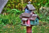Large wooden Bird House on a 4x4 in High Dynamic Range — Stock Photo