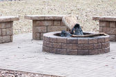 Awesome backyard with fire pit — Stock Photo
