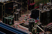 Deska počítače v neonu — Stock fotografie