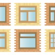 Set Exterior Wooden Windows — Stock Vector