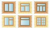 Set Exterior Wooden Windows — Stock Vector