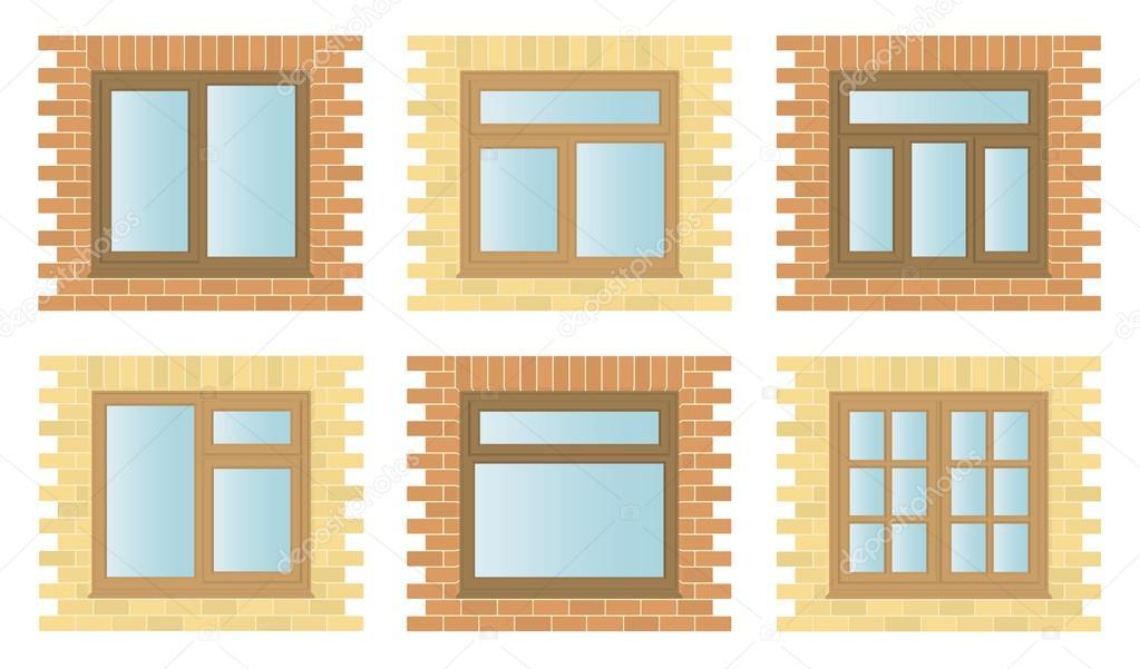 Impostare windows in legno esterno vettoriali stock mattpost 19260895 - Cornici per finestre in mattoni ...