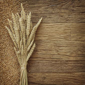 Wheat on the wood background — Stock Photo