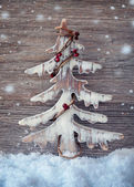 Wooden christmas tree — Stock Photo