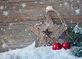 Trä julstjärna — Stockfoto