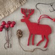 Red christmas deer — Stock Photo