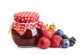 Jam and fresh berries — Stock Photo
