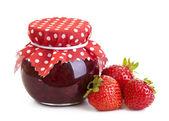 Strawberry jam and fresh berries — Stock Photo