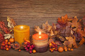Autumn candle — Stock fotografie