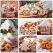 Christmas gingerbread cookies and stollen cake — ストック写真