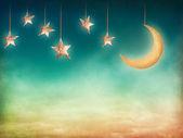 Lua e estrelas — Foto Stock