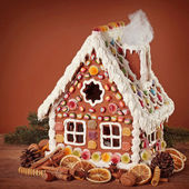 Homemade gingerbread house — 图库照片