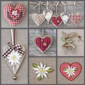 Collage av foton med hjärtan — Stockfoto