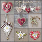 Collage of photos with hearts — Stok fotoğraf