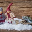 Two little santa decoration — Stock Photo