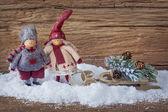 Zwei kleine santa-dekoration — Stockfoto