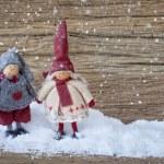 Two little santa decoration — Stock Photo