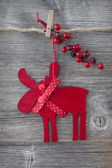 Wooden christmas deer — Stock Photo
