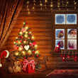 Room with christmas tree - Stock Photo