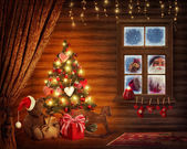 Room with christmas tree — Stok fotoğraf