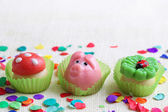 Marzipan pig,mushroom and cloverleaf — Stock Photo