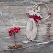 Wooden christmas deer - Stock Photo