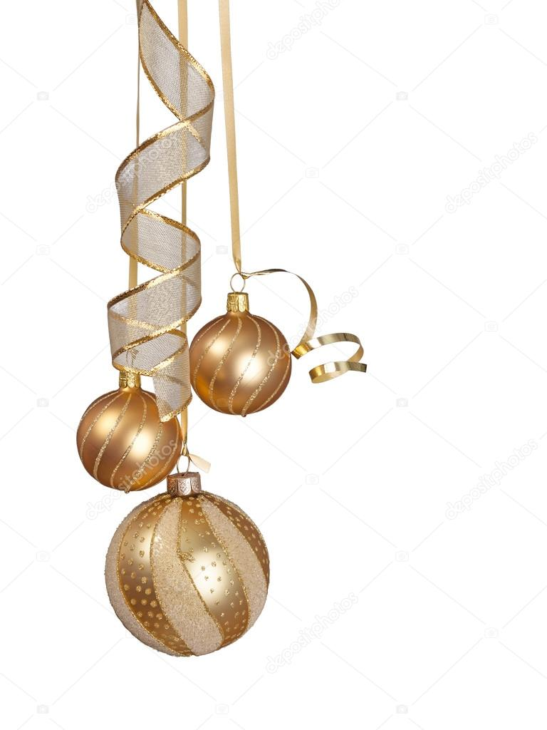 Christmas ornaments hanging isolated on white background — Stock Photo #15878791