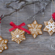 Snowflake gingerbread cookies — Stock Photo #16247283