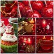 Red christmas collage — Stock Photo