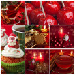 Red christmas collage - Stock Photo
