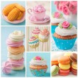 Pastel colored cakes collage — ストック写真