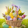 Basket with easter eggs — Foto de stock #18413705