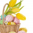 Basket with easter eggs — Stock Photo #19174387