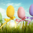 Easter pastel colored eggs — Stock Photo