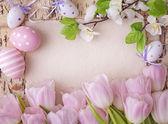 Pink tulips and blank note — Φωτογραφία Αρχείου