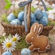 Easter cookie and blue eggs — Stock Photo