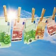 Money laundering on clothesline — Foto Stock #22883652