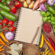 Stock Photo: Fresh vegetables and blank recipe book