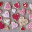 Red and pink heart cookies — Stock Photo #24451803