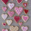 Red and pink heart cookies — Stock Photo