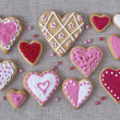 Stock Photo: Red and pink heart cookies