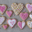 White and pink heart cookies — Stock Photo