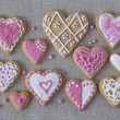 Stock Photo: White and pink heart cookies