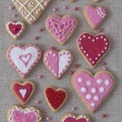 Red and pink heart cookies - 图库照片
