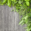 Stock Photo: Fresh herbs over grey wooden
