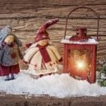 Two little santa and lantern — Stock Photo
