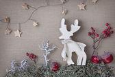Wooden christmas deer — Stock Photo