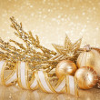 Christmas golden decoration — Stock Photo