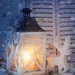 Burning lantern and christmas decoration — Stock Photo