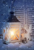 Burning lantern and christmas decoration — Foto de Stock